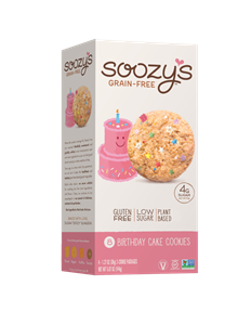 Soozy's Grain-Free Cookies Reviews and Info - Vegan, dairy-free, egg-free, gluten-free, and soy-free! They're also made without gums or other additives. Pictured: Birthday Cake