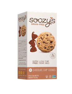 Soozy's Grain-Free Cookies Reviews and Info - Vegan, dairy-free, egg-free, gluten-free, and soy-free! They're also made without gums or other additives. Pictured: Chocolate Chip
