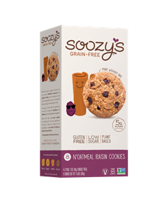 Soozy's Grain-Free Cookies Reviews and Info - Vegan, dairy-free, egg-free, gluten-free, and soy-free! They're also made without gums or other additives. Pictured: Noatmeal Raisin