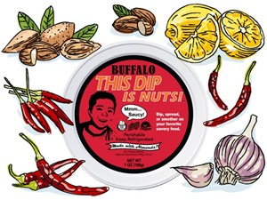 This Dip is Nuts Reviews and Info - Dairy-free, Soy-free, Keto, Paleo, Vegan, and Organic! Comes in four varieties. Pictured: Buffalo