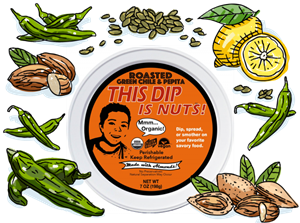 This Dip is Nuts Reviews and Info - Dairy-free, Soy-free, Keto, Paleo, Vegan, and Organic! Comes in four varieties. Pictured: Green Chile and Pepitas