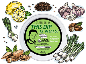 This Dip is Nuts Reviews and Info - Dairy-free, Soy-free, Keto, Paleo, Vegan, and Organic! Comes in four varieties. Pictured: Green Onion