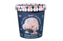 Trader Joe's Non-Dairy Oat Frozen Dessert - Dairy-Free Oat Milk Ice Cream in One Vegan Flavor: Strawberry with Candied Strawberries & Almond Brittle