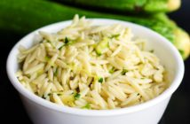 Disappearing Dairy-Free Zucchini Orzo Recipe - plant-based, vegan-friendly, allergy-friendly options. Great side or one-dish meal!