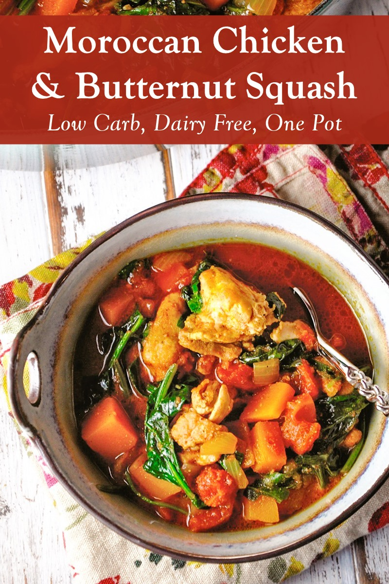 Moroccan Chicken & Butternut Squash Recipe - Low Carb, Dairy-Free, Gluten-Free, Paleo, Keto-Friendly, Nut-Free, and Soy-Free! Healthy One-Pot Meal