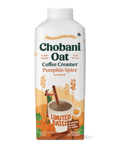 Chobani Oat Coffee Creamer Reviews and Info - Dairy-free, soy-free, nut-free, no gluten, and vegan. Limited Batch Pumpkin Spice Pictured