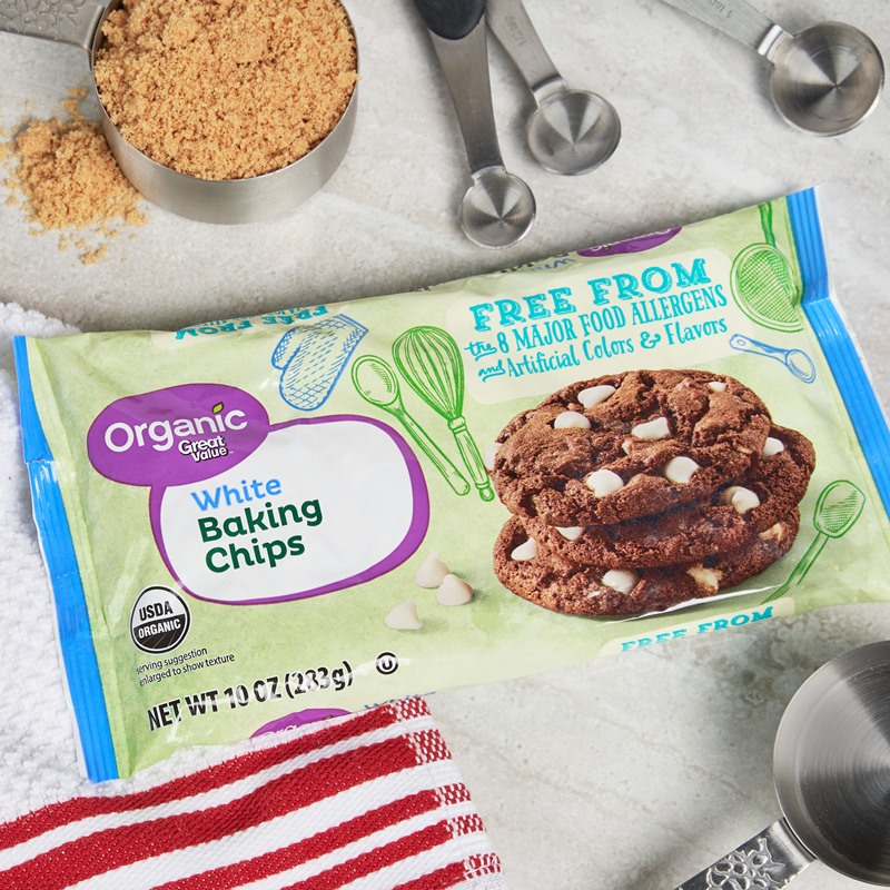 Great Value Free From Baking Chips Reviews and Info - dairy-free, gluten-free, egg-free, nut-free, soy-free, vegan, and organic! They come in dark, semi-sweet, and white chocolate chips