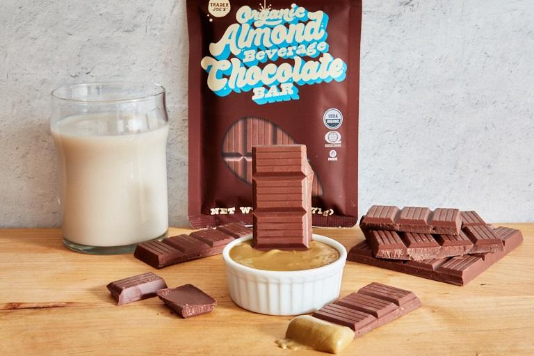 Trader Joe's Organic Almond Beverage Chocolate Bar Reviews and Info - dairy-free, gluten-free, soy-free, vegan, kosher pareve milk chocolate alternative