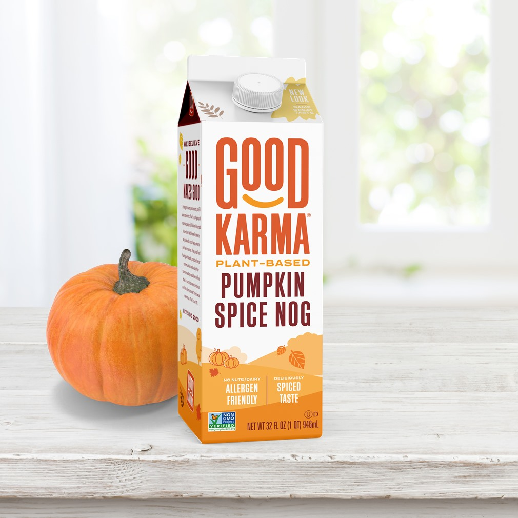 The Best Dairy-Free Pumpkin Spice Products for Fall - Pictured, Good Karma Pumpkin Spice Nog