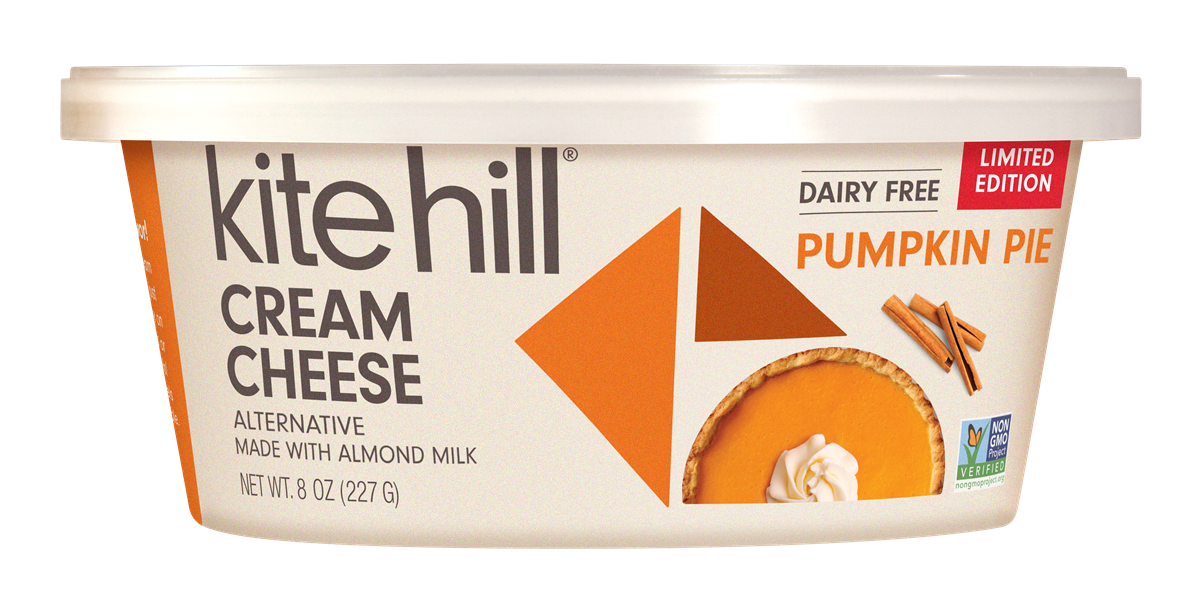 Dairy-free Pumpkin Spice Products - complete list for fall! Over 50 products, including Kite Hill Cream Cheese Alternative