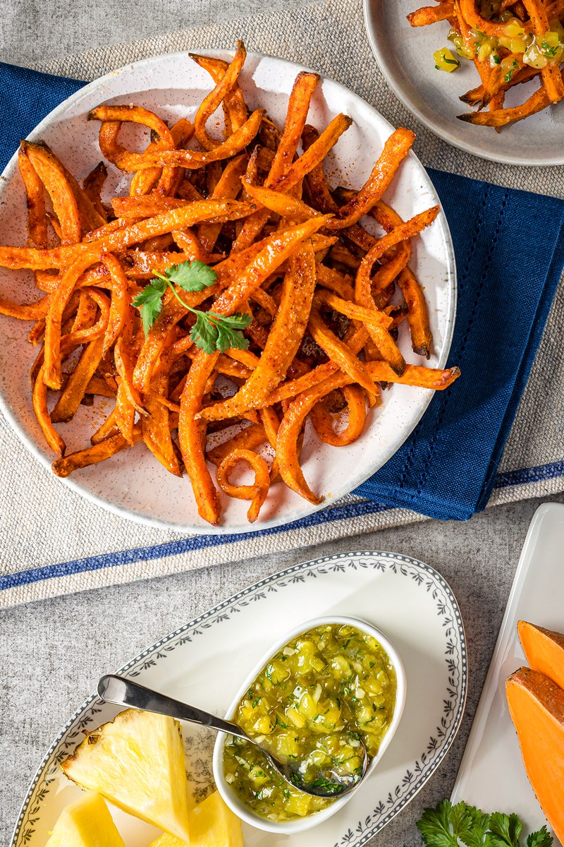 Air Fryer Sweet Potato Fries Recipe with Pineapple-Jalapeno Dipping Sauce (includes oven-baked option and mild kid-friendly version). Naturally vegan, gluten-free, and allergy-friendly.