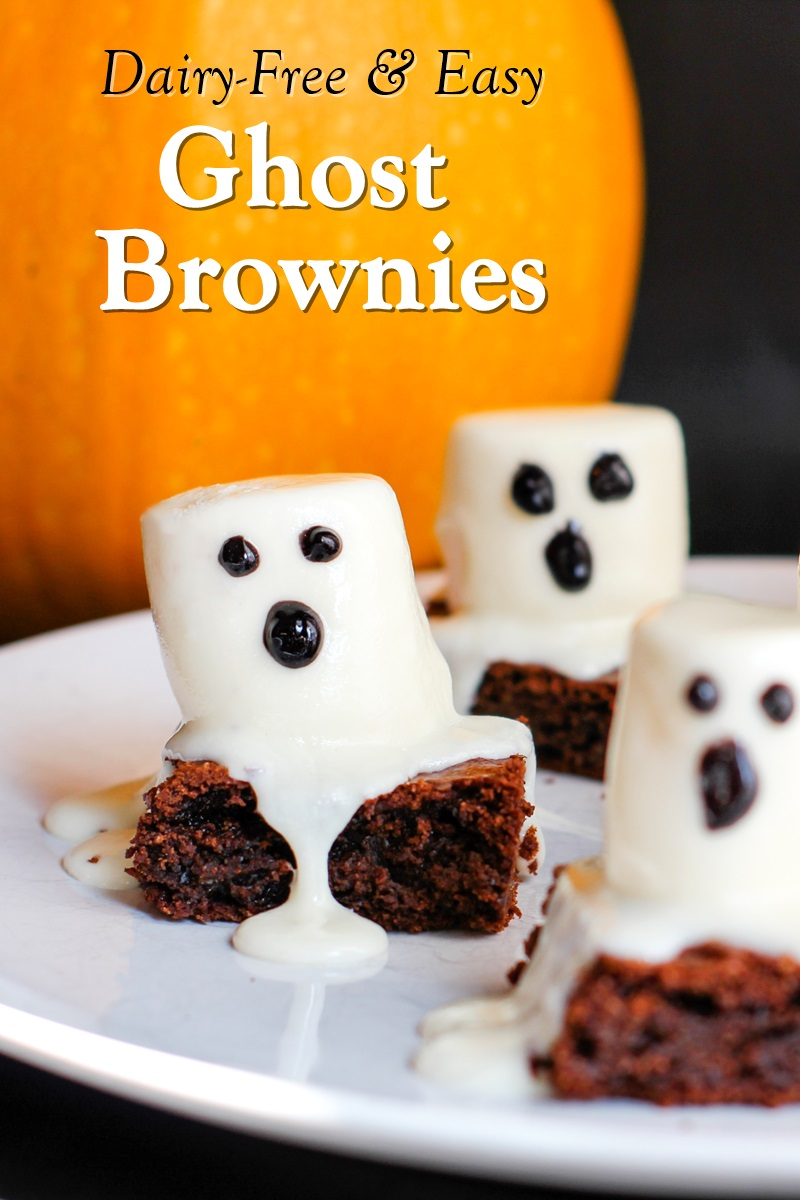 Dairy-Free Ghost Brownies Recipe with Options for Gluten-Free, Vegan, and Top Food Allergy Friendly (Easy Halloween Treat!)
