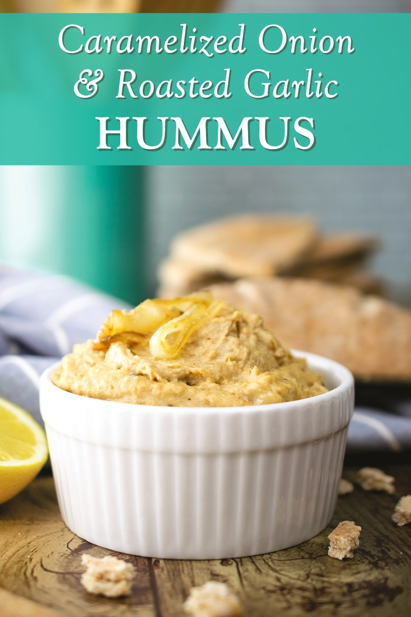 Roasted Garlic & Caramelized Onion Hummus Recipe - naturally plant-based, dairy-free, gluten-free, allergy-friendly, and layered with rich flavors