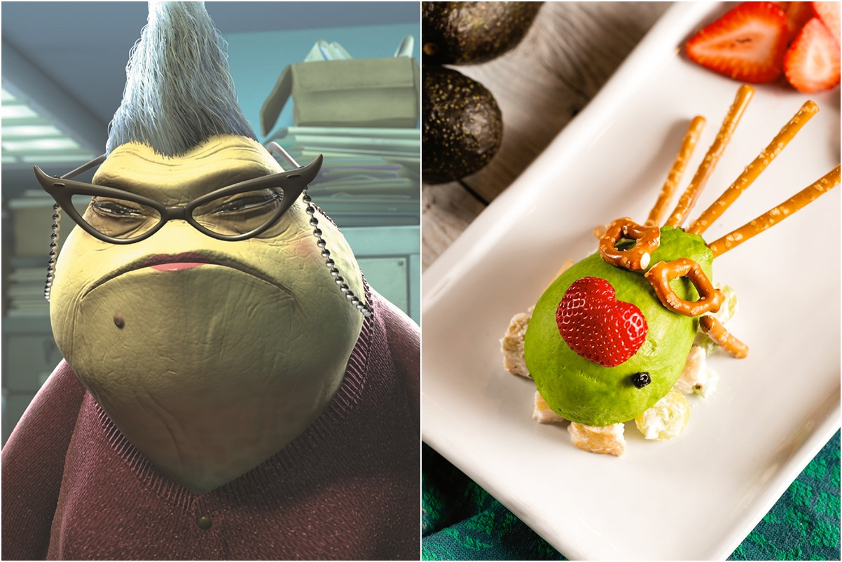 Chicken Salad Stuffed Avocados Recipe with Roz Head option from Monsters Inc. (naturally dairy-free and nut-free, with gluten-free, egg-free, and soy-free options)