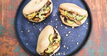 Vegan Mushroom Bao Buns Recipe - Homemade buns with savory mushroom filling and pickled cucumbers.