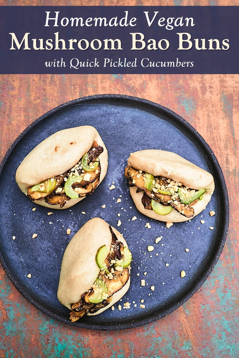 Vegan Mushroom Bao Buns Recipe - Homemade buns with savory mushroom filling and pickled cucumbers. From East by Meera Sodha.