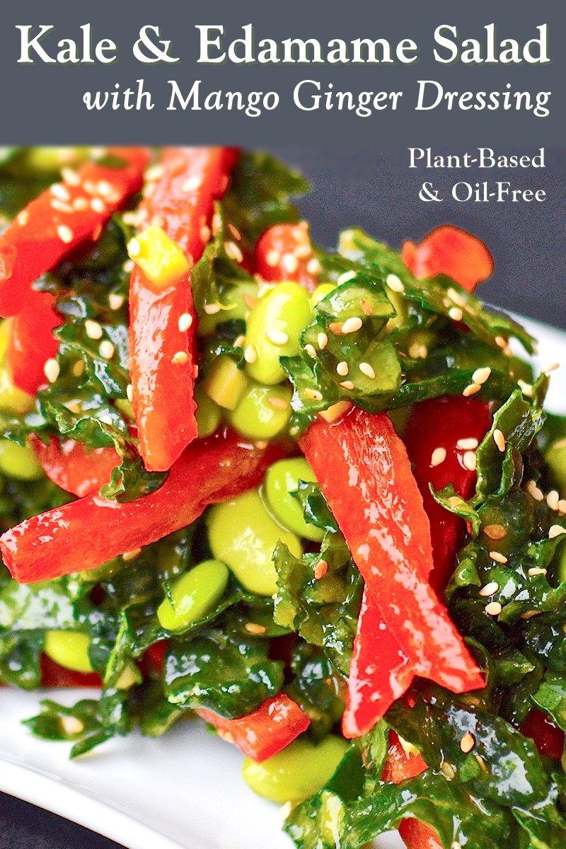 Edamame Kale Salad Recipe with Oil-Free Mango Ginger Dressing (no added sugar or salt either! Plant-based, gluten-free, dairy-free)
