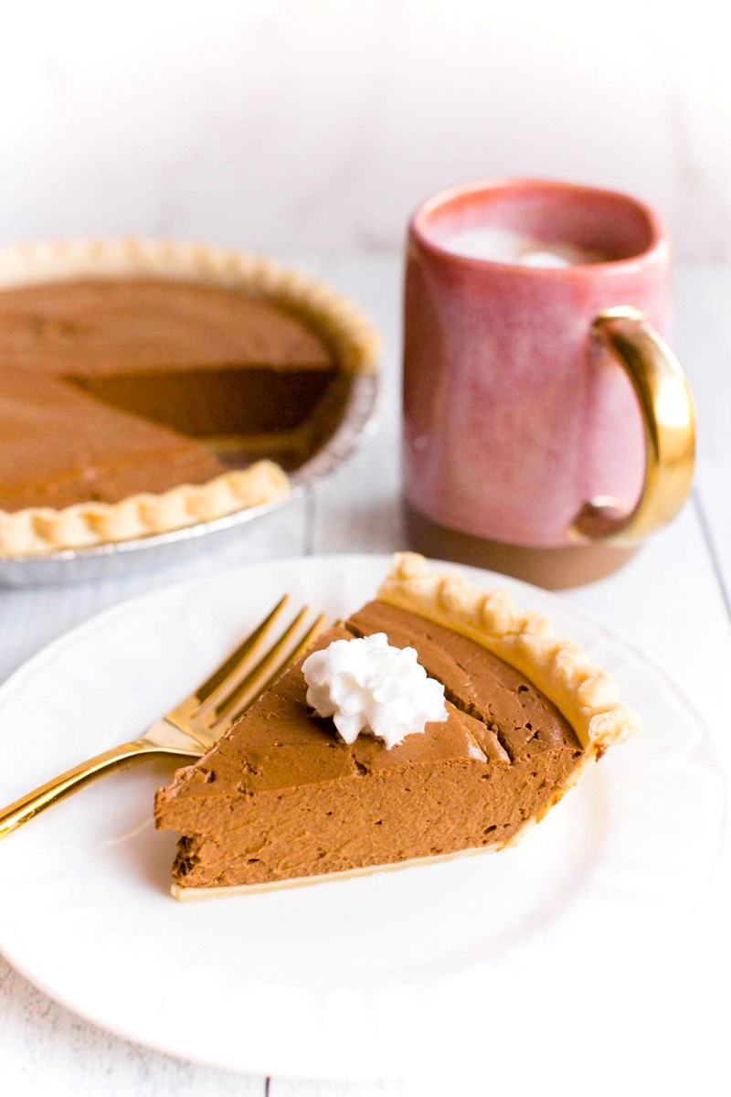 Vegan Silken Chocolate Pumpkin Pie Recipe - plant-based, dairy-free, decadent, and delicious dessert from the Friendly Vegan Cookbook.