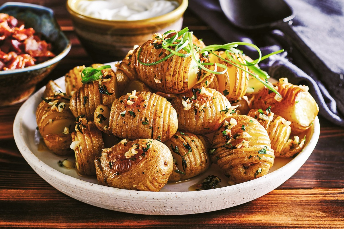 Dairy-Free Mini Hasselback Potatoes Recipe - also plant-based, gluten-free, optionally vegan, and allergy-friendly! Impressive, delicious, easy side dish or small plate.