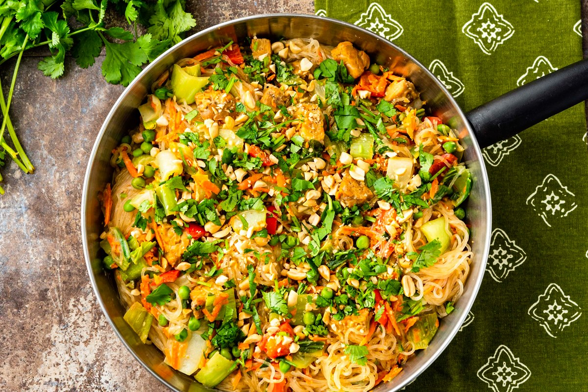 Plant-Based Indonesian Noodles with Braised Tempeh and Bok Choy - a High Protein, Vegan Recipe that's loaded with Vegetables, Other Healthy Ingredients, and Flavor. Gluten-free Optional