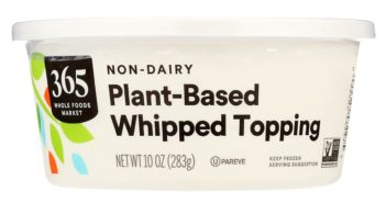 365 Plant-Based Whipped Topping Reviews and Info - Non-Dairy, Dairy-Free, Vegan, and Nut-Free. Also Certified Kosher Pareve and Non-GMO Verified. A Whole Foods Generic and Cool Whip tub-style copycat.