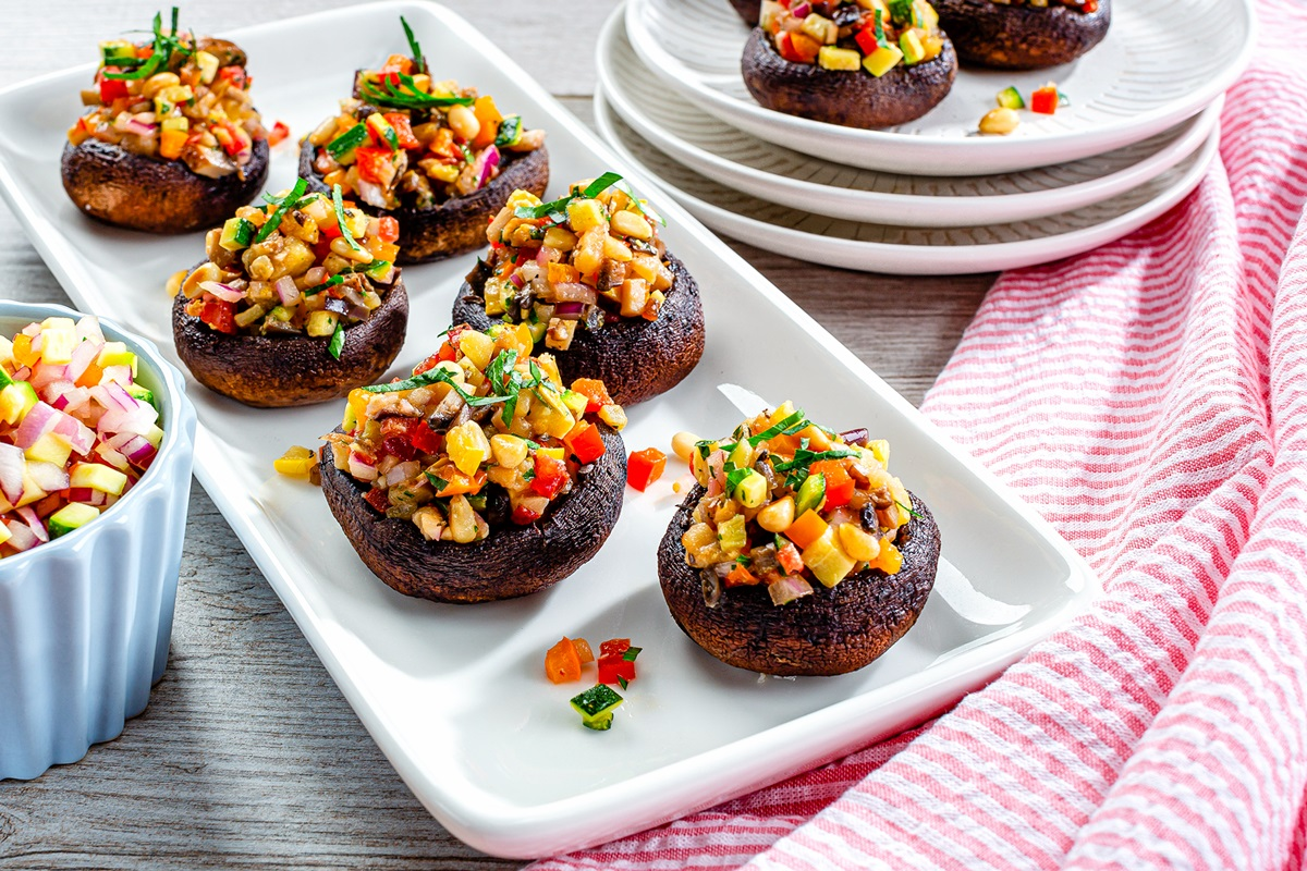 Vegan Ratatouille Stuffed Mushrooms Recipe - dairy-free, gluten-free, plant-based, paleo, and optionally allergy-friendly! No cheese, no meat, no breadcrumbs.