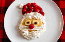Dairy-Free Santa Pancakes Recipe - A fun treat for St. Nicholas Day or Christmas Day! Vegan and gluten-free options.