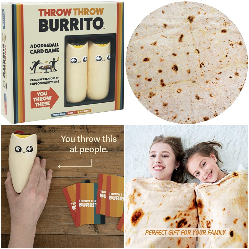 The Dairy-Free Gift Guide with Unique Ideas for Adults and Kids. Pictured: Burrito Games and Throw