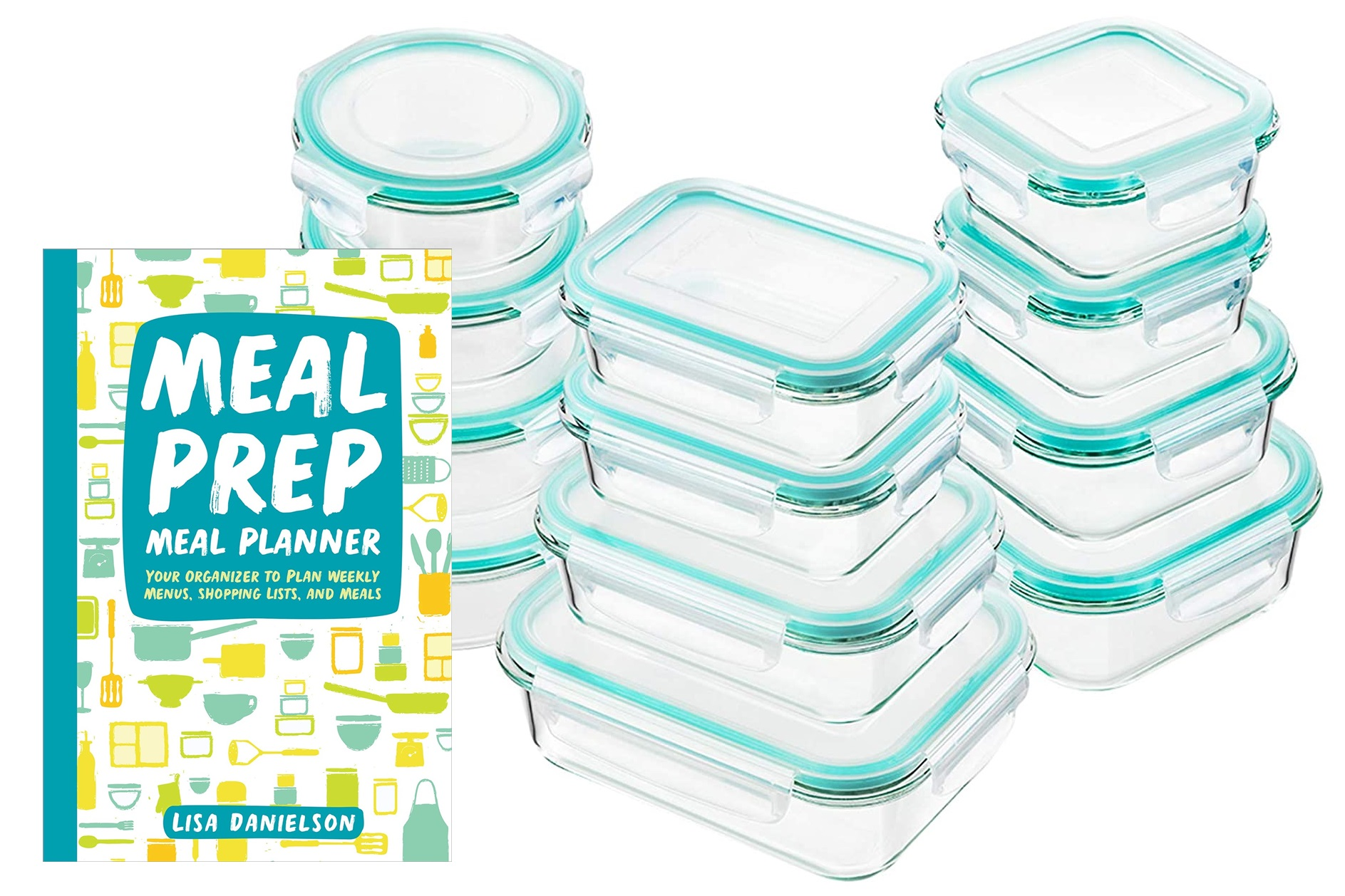 The Dairy-Free Gift Guide with Unique Ideas for Adults and Kids. Pictured: Meal Prep Planner and Teal Containers