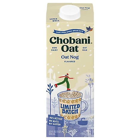 Chobani Oat Nog on our List of Vegan and Dairy-Free Holiday Beverages!