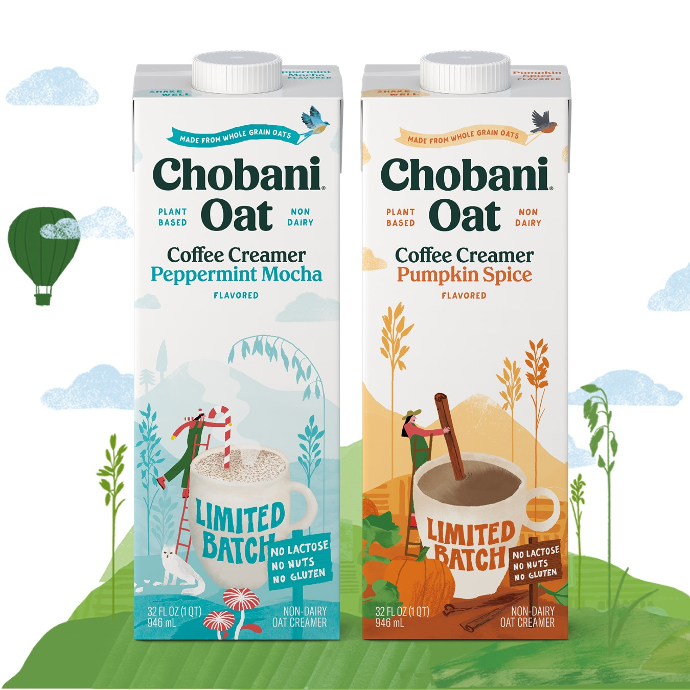 All the Dairy-Free Holiday Beverages and Creamers for the Season! Pictured: Chobani Vegan Oat Creamers in Seasonal Flavors