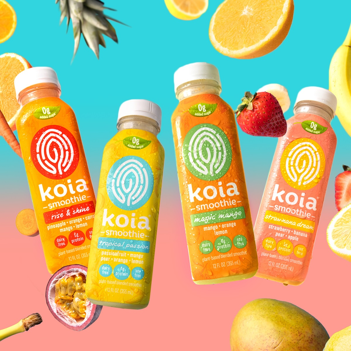 Koia Smoothies Reviews and Info - Dairy-free, vegan, low sugar blends with real fruit, coconut milk, plant-based protein, chia seeds, and baobab.