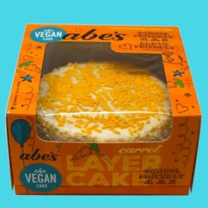 Abe's Celebration Cakes Reviews and Information - dairy-free, egg-free, nut-free, soy-free, and vegan-friendly! Two layer, ready-to-eat cakes are fully frosted and adorned with sprinkles. Vanilla, Chocolate, Carrot