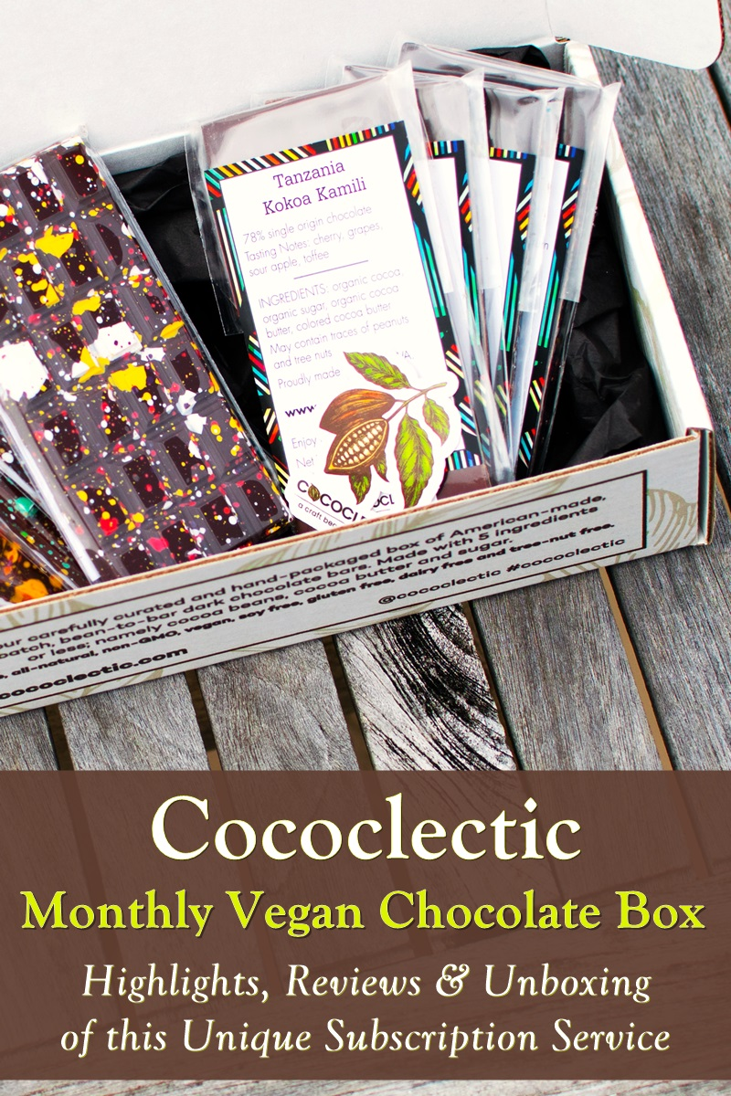 Cococlectic Vegan Chocolate Subscription Service - exclusively American, bean-to-bar chocolatiers. All chocolate is dairy-free, gluten-free, nut-free, and soy-free!