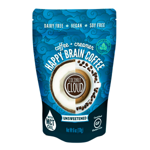 Coconut Cloud Happy Brain Coffee Reviews and Info - dairy-free, plant-based, and keto-friendly with MCT oil - instant vegan latte mixes
