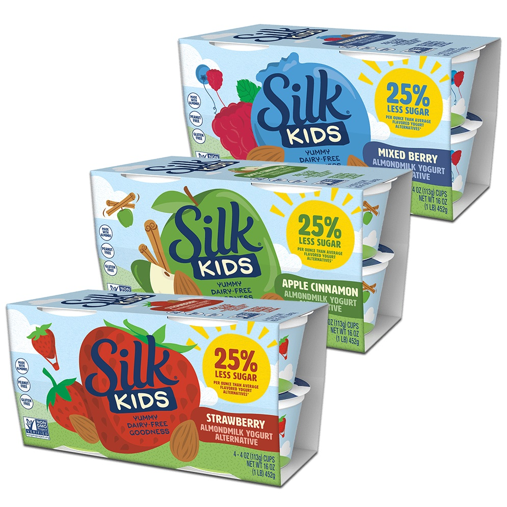 Silk Kids Almondmilk Yogurt Reviews and Info - a dairy-free alternative with lower sugar, live active cultures, protein, fat, calcium, and vitamin D. Soy-free and vegan.