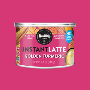 Healthy Crunch Instant Latte Mixes Reviews and Info - dairy-free, gluten-free, nut-free, soy-free, and vegan! Four coffee-free varieties - Golden Turmeric, Chocolate, Matcha, and Pumpkin Maple