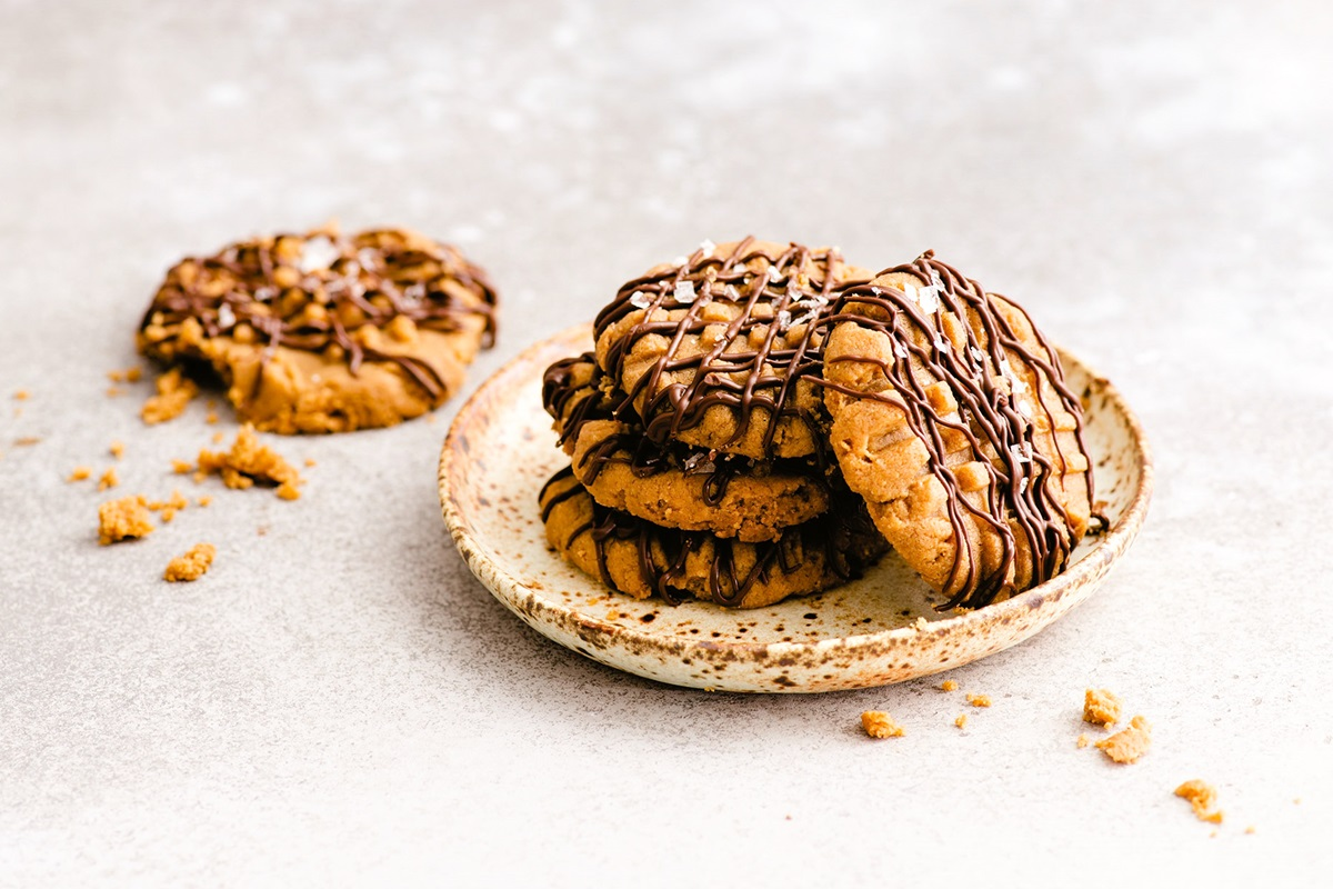 Dairy-Free Keto Peanut Butter Cookies Recipe with Chocolate and Sea Salt - Gluten-free, Sugar-free, Soy-free, Flourless, and Paleo-friendly