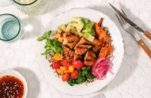 Sesame Ginger Power Bowls Recipe with Quick Pickled Onions, Tempeh, Sweet Potatoes, Greens, and Quinoa - plant-based, vegan, dairy-free, nut-free and optionally gluten-free