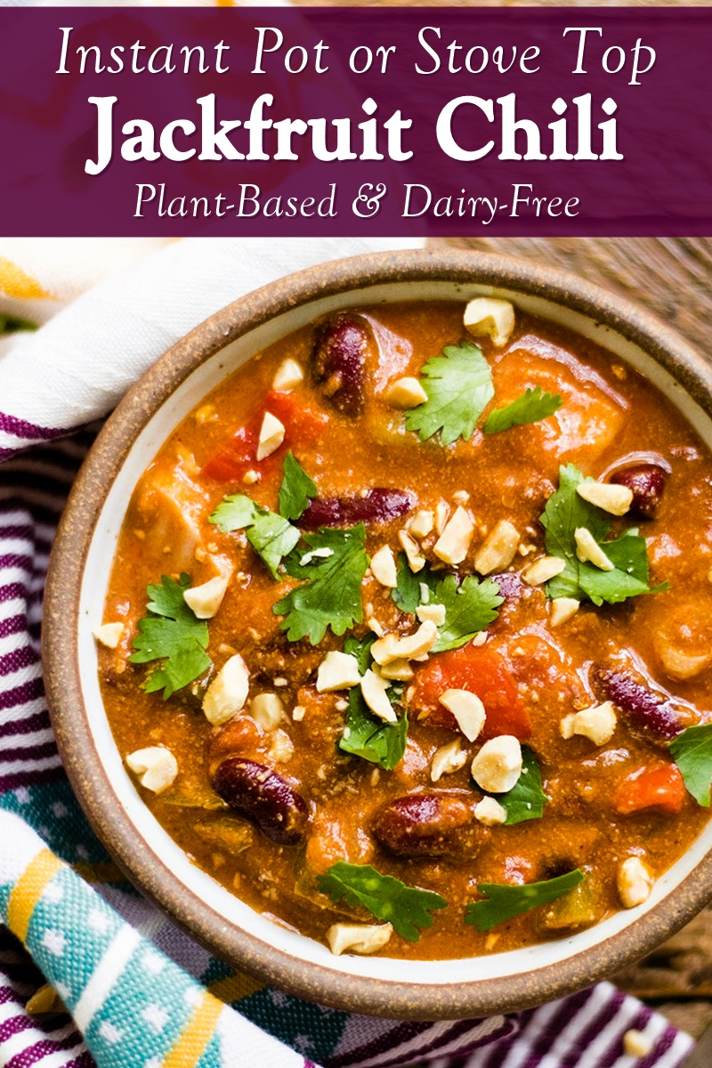 Plant-Based Jackfruit Chili Recipe for your Stove Top or Instant Pot! Vegan, dairy-free, gluten-free, grain-free, and optionally allergy-friendly.
