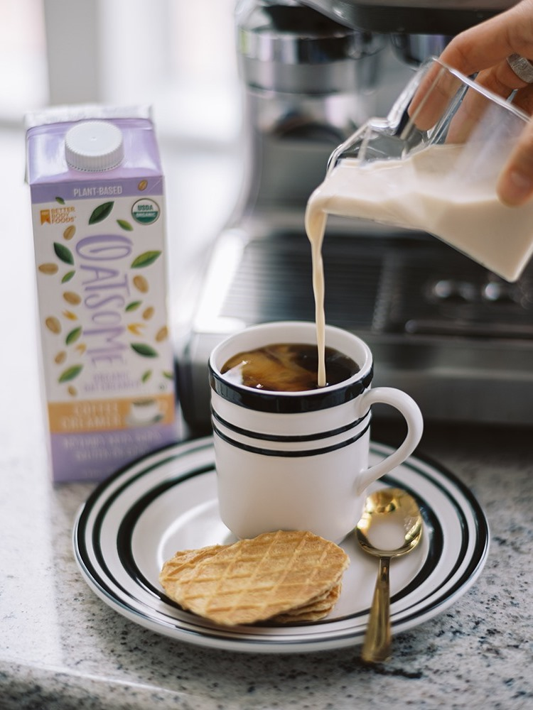 Oatsome Coffee Creamer Reviews & Info - Dairy-free, Gluten-free, Soy-free, Vegan, and Organic. Free of carrageenan, gums, lecithins, and other additives.