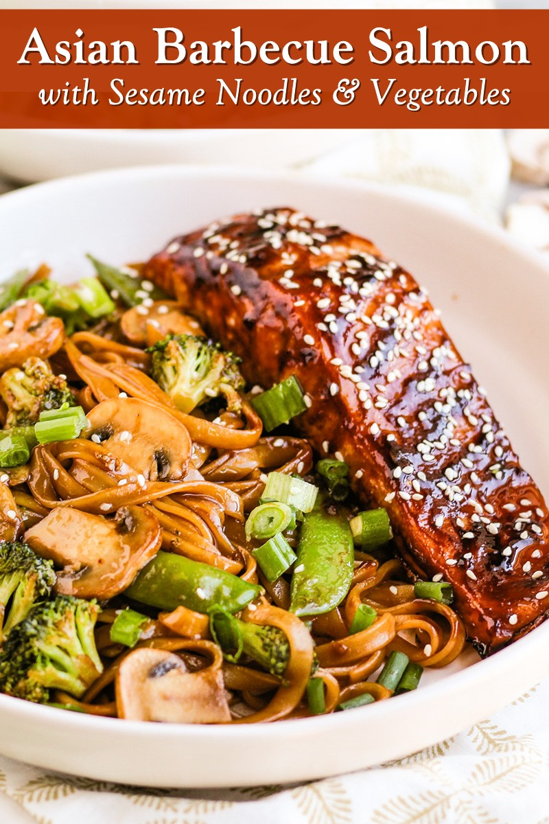 Asian Barbecue Salmon with Sesame Noodles and Vegetables Recipe - naturally dairy-free, nut-free, peanut-free, and optionally gluten-free. Wonderful for Fish Fridays! Delicious, flavorful, and healthy.
