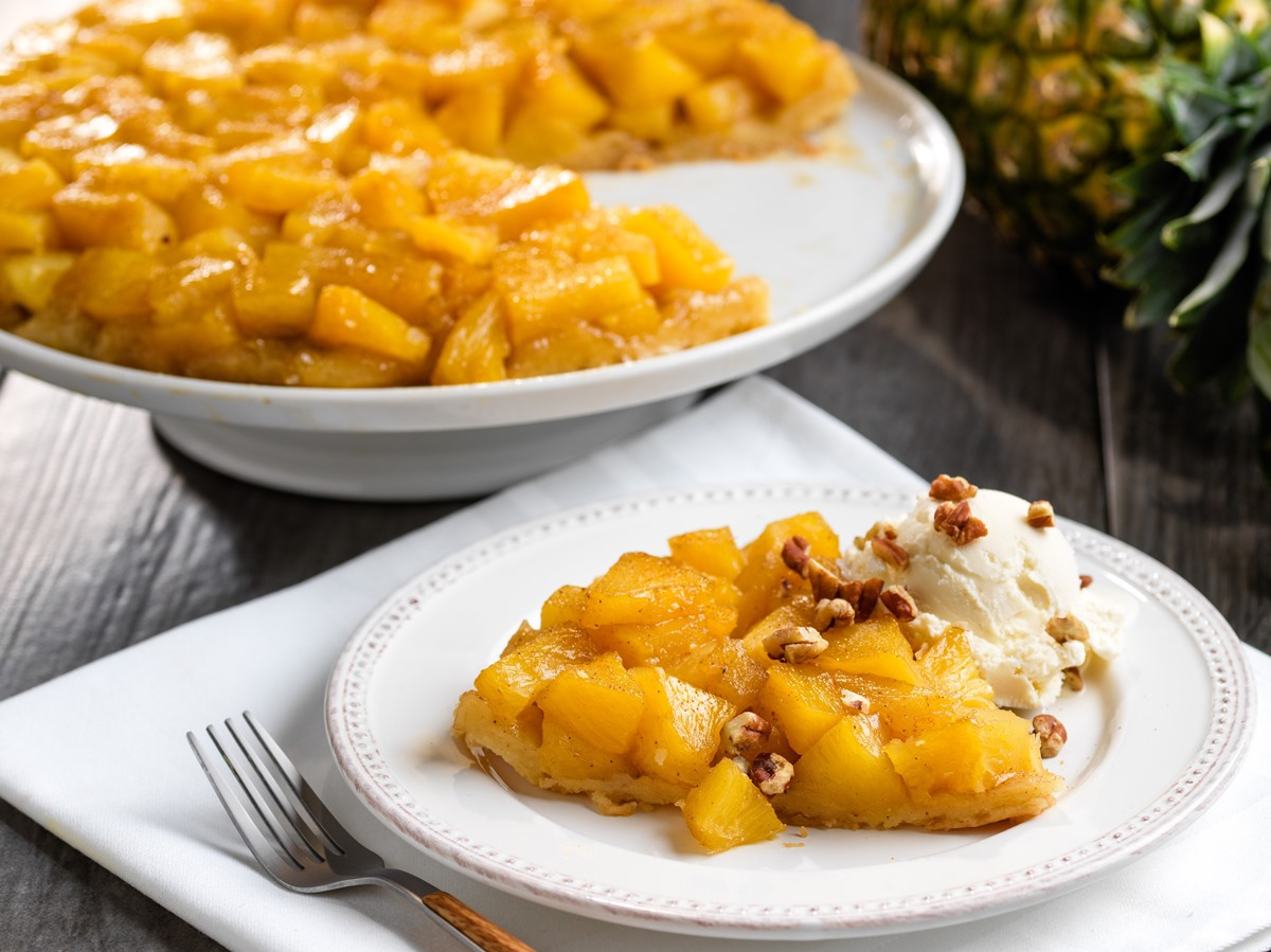 Dairy-Free Pineapple Tarte Tatin Recipe (Vegan & Gluten-Free Options) - made with warm spices, fresh pineapple, and without refined sugar.