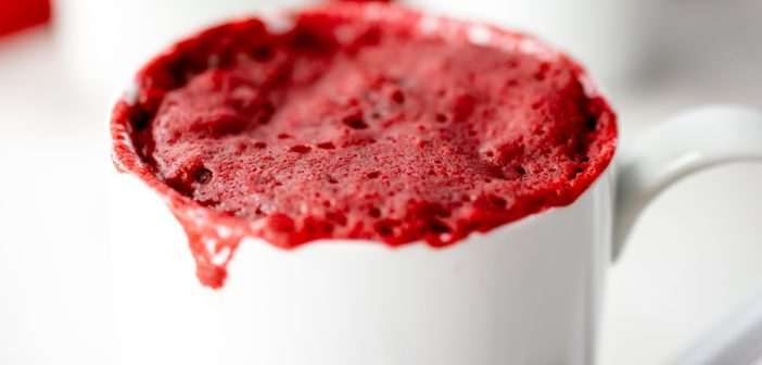 Vegan Red Velvet Mug Cake with Dairy-Free Cream Cheese Filling