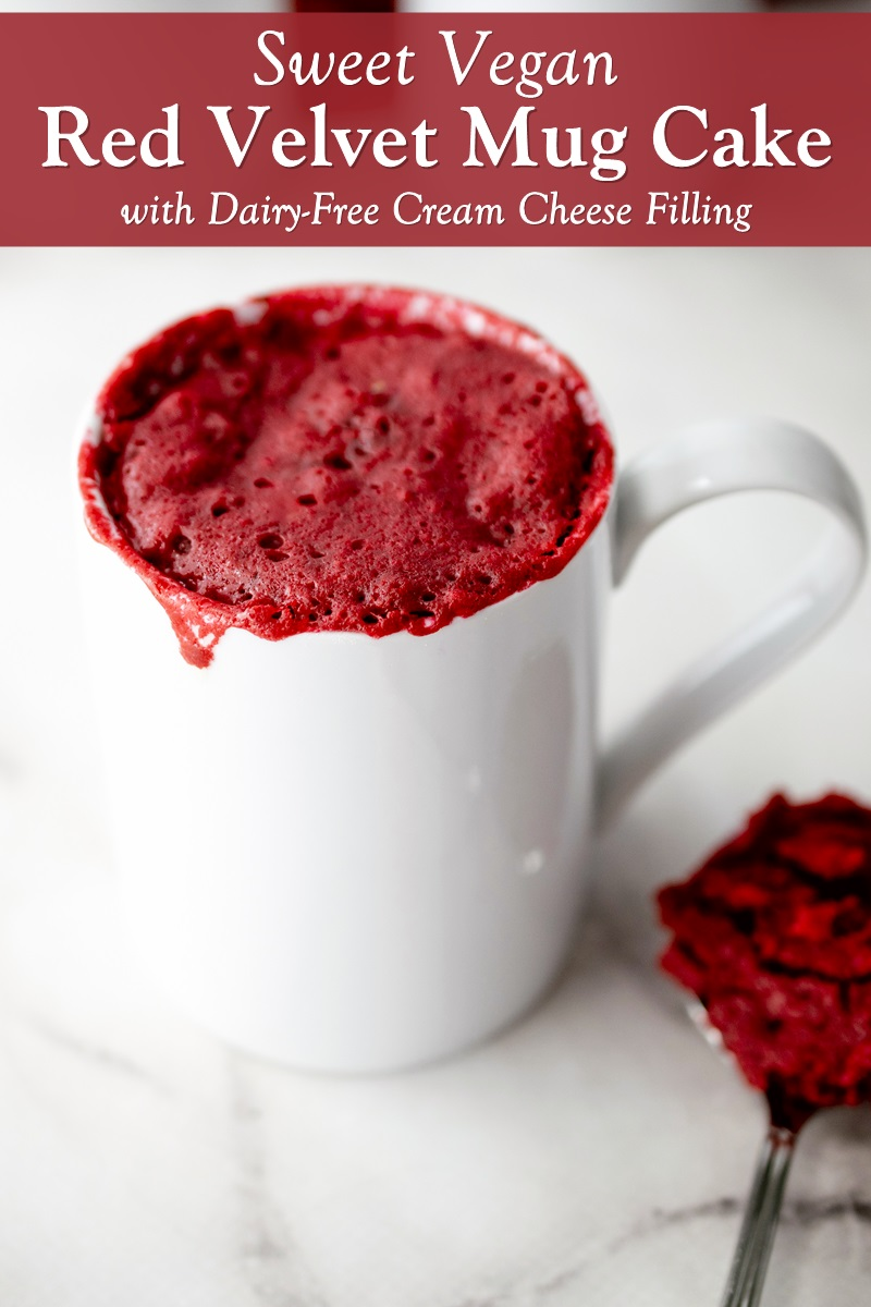Vegan Red Velvet Mug Cake Recipe with Dairy-Free Cream Cheese Filling. Optionally soy-free and nut-free.