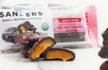 Sanders Dairy Free Dark Chocolate Caramels Reviews & Info - vegan, organic, and kettle-cooked in small batches. Affordable treat!