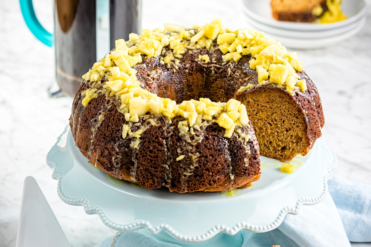 Dairy-Free Pineapple Banana Bundt Cake Recipe with Vegan Option. Healthy Cake that's lower in sugar and made without whole wheat flour.