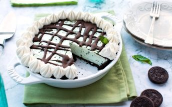 Dairy-Free Mint Chip Ice Cream Pie Recipe - everyone's favorite frozen Grasshopper Pie made Vegan and Allergy-Friendly! Gluten-free and Keto options.
