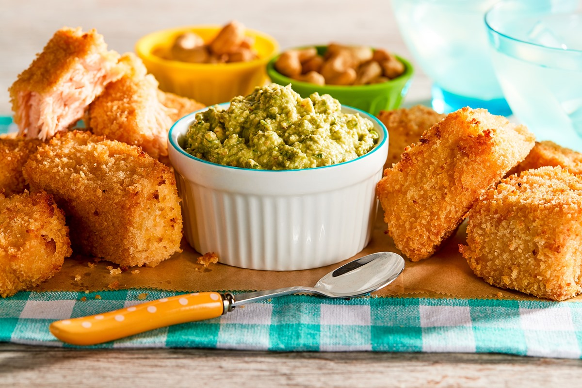 Baked Salmon Nuggets with Healthy Dairy-Free Spinach Dip Recipe - with Gluten-Free and Egg-Free Options