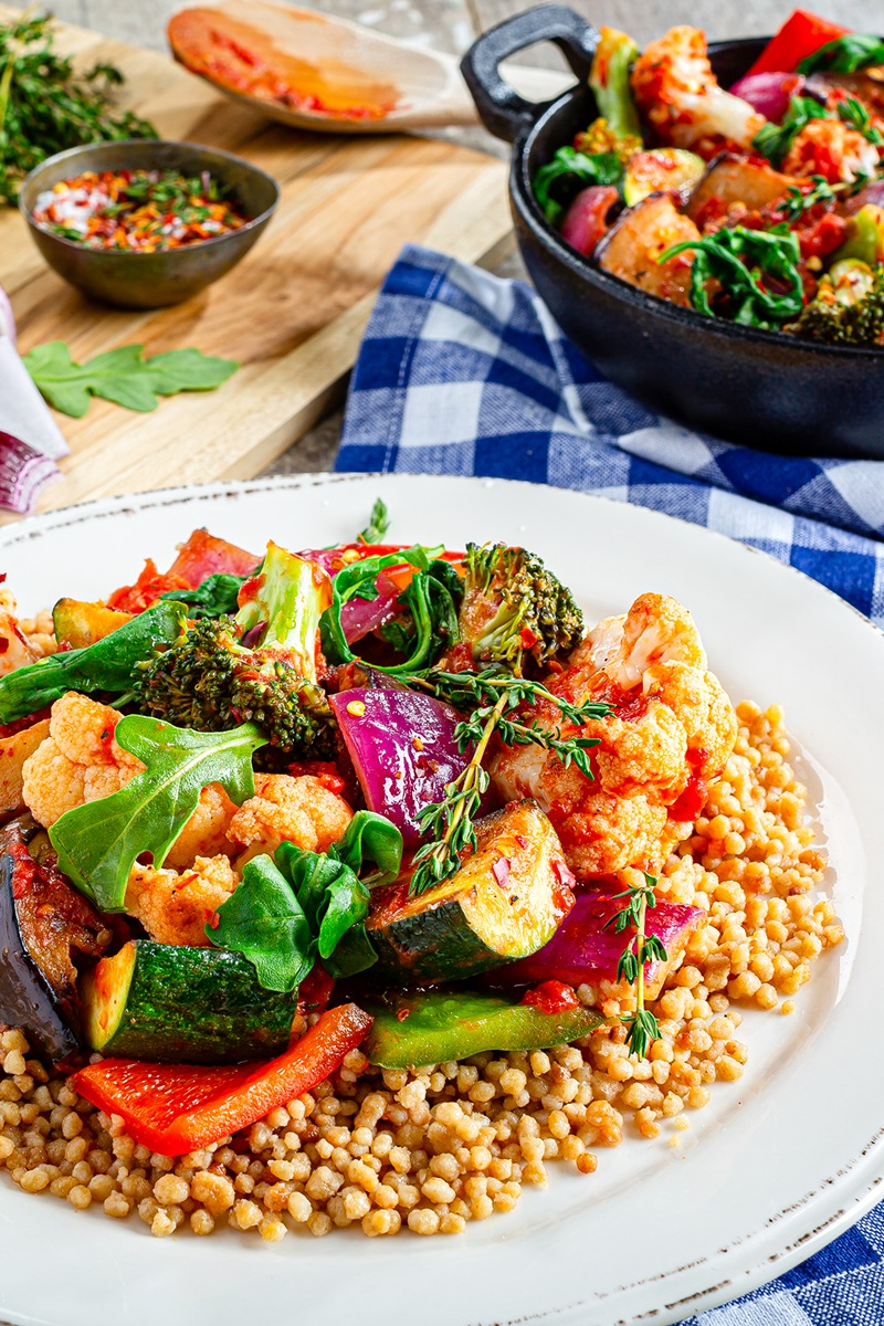 Rustic Ratatouille Recipe with Broccoli, Cauliflower, and Arugula over Couscous (Plant-Based, Vegan, Gluten-Free, Dairy-Free, Allergy-Friendly)